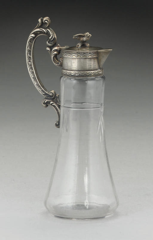 A SMALL LATE 19TH CENTURY RUSSIAN SILVER-GILT MOUNTED GLASS JUG,