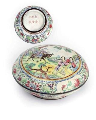 A Canton enamel circular box a