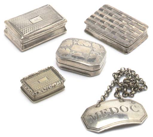 A GROUP OF FOUR EARLY 19TH CENTURY SILVER VINAIGRETTES AND FOUR SILVER WINE LABELS