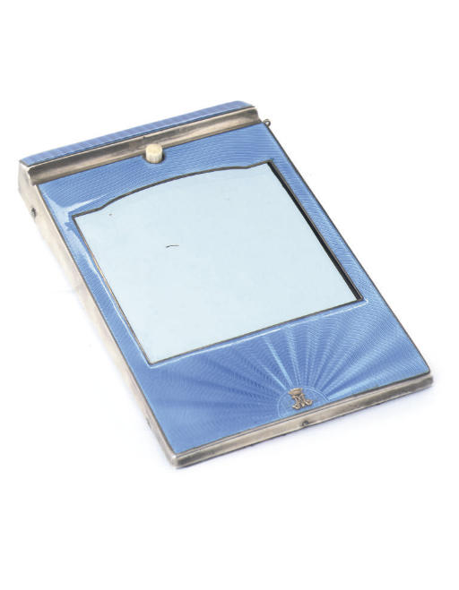 PRINCESS MARY'S DESK NOTE PAD A SILVER AND LIGHT BLUE ENAMELLED DESK NOTE PAD