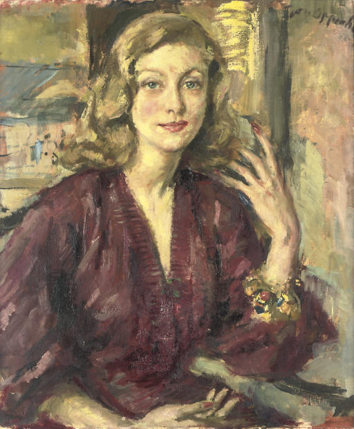 Portrait of the Hon. Mrs Angela Lascelles, seated, half-length, in a maroon dress, wearing a charm bracelet, a window beyond