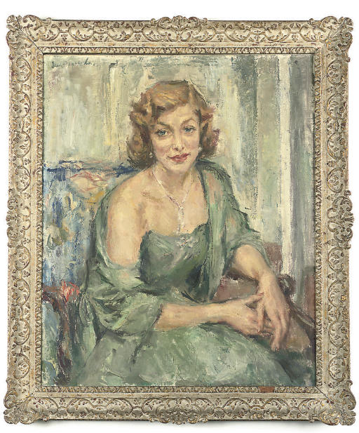 Portrait of the Hon. Mrs. Angela Lascelles, seated, three-quarter length, in a blue dress and wrap in an interior