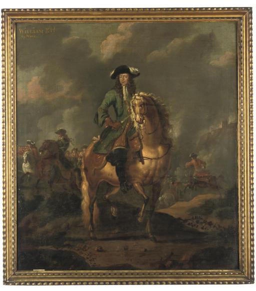 Portrait of William III (1650-1702), full-length, on horseback, at the Battle of the Boyne, 1690