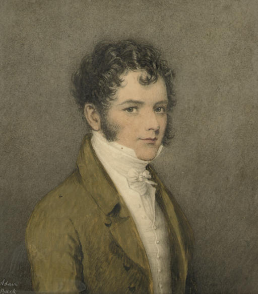 Portrait of a young gentleman, half-length, in a green coat with a white waistcoat and stock