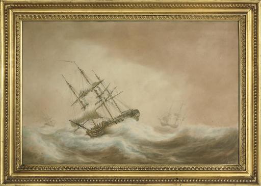An armed merchantman in choppy seas