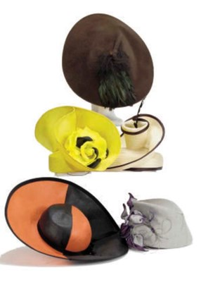 A GROUP OF FIVE PICTURE HATS