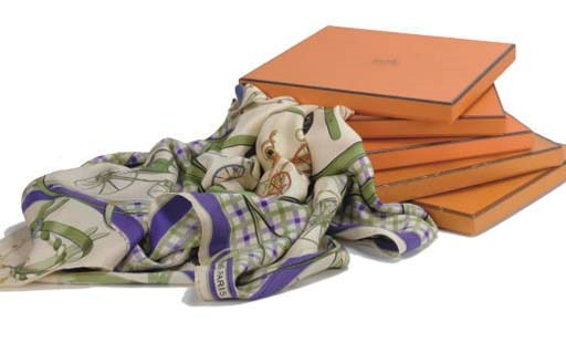 HERMÈS, FIVE SILK SCARVES