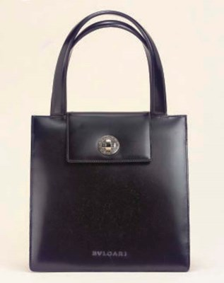 A BLACK LEATHER HANDBAG, BULGA