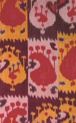 A PANEL OF SILK IKAT, BOKHARA,