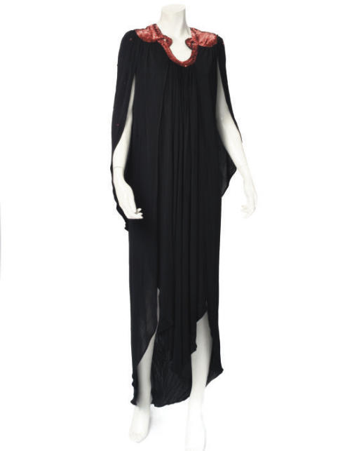 OSSIE CLARK, A BLACK MAXI DRESS