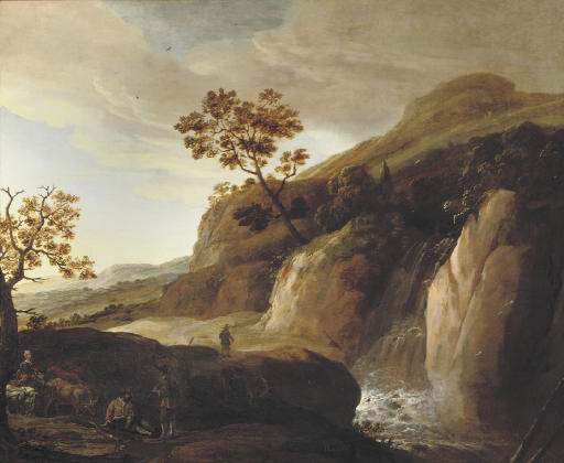 A mountainous river landscape with travellers at rest on a bank, a waterfall beyond