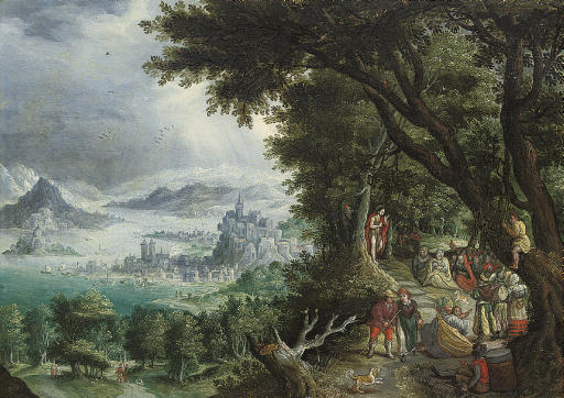 An extensive mountainous landscape with the Predication of Saint John the Baptist