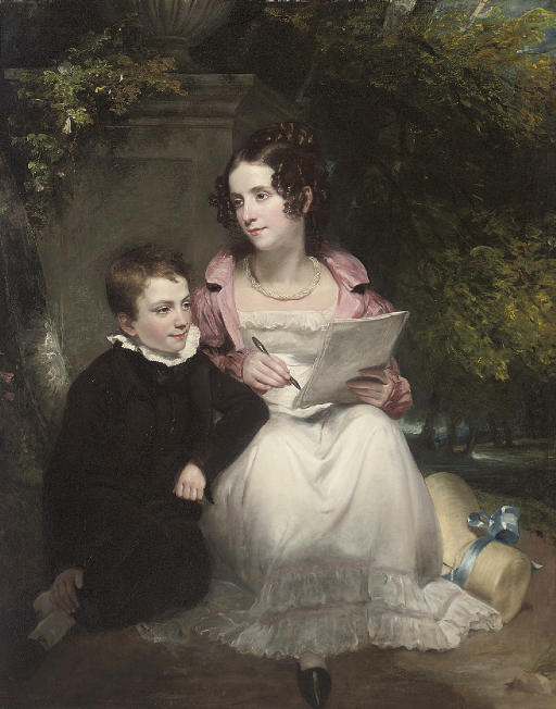 Portrait of a brother and sister, full-length, she in a white dress, pink coat and pearl necklace, writing a letter, he in a black suit, seated by a plinth, in a garden