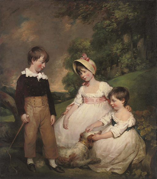 Group portrait of the Wallinger children, full-length, the boy standing in breeches holding a riding crop, the girls seated in white dresses, one with a pink sash and bonnet with pink ribbons, the other with a blue sash, with a spaniel, in a garden