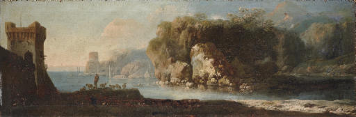 A coastal landscape with a shepherd by an inlet