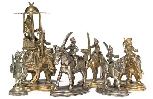 AN INDIAN SILVER AND GILT COLO