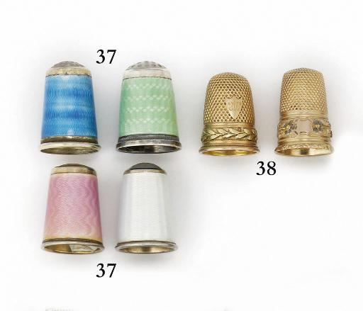 A Norwegian silver-gilt and enamel thimble