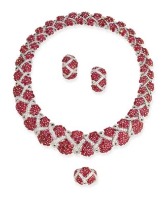 A RUBY AND DIAMOND SUITE OF JE