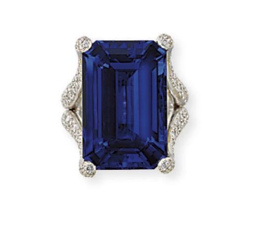 A TANZANITE AND DIAMOND RING, BY MICHAEL YOUSSOUFIAN