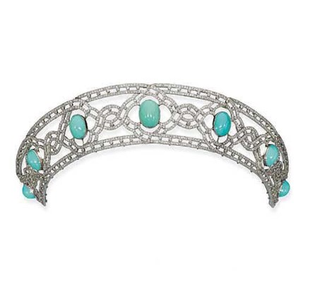 A DELICATE BELLE EPOQUE TURQUOISE AND DIAMOND TIARA
