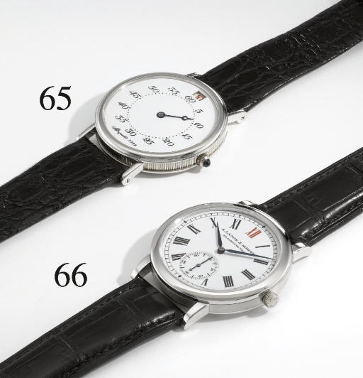 A. Lange & Söhne. A fine and rare platinum limited edition self-winding wristwatch with enamel dial