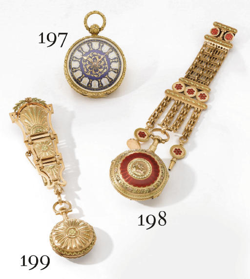 Le Roy & Fils. A fine 18K two colour gold openface cylinder watch with chatelaine