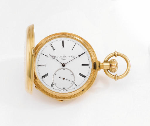 Potter. A fine and rare 18K gold hunter case keyless pocket chronometer with pivoted detent escapement