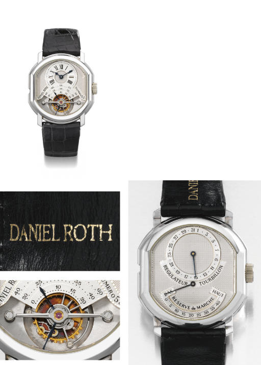 Daniel Roth. A very fine and rare 18K white gold barrel-shaped double dial tourbillon wristwatch with date and power reserve