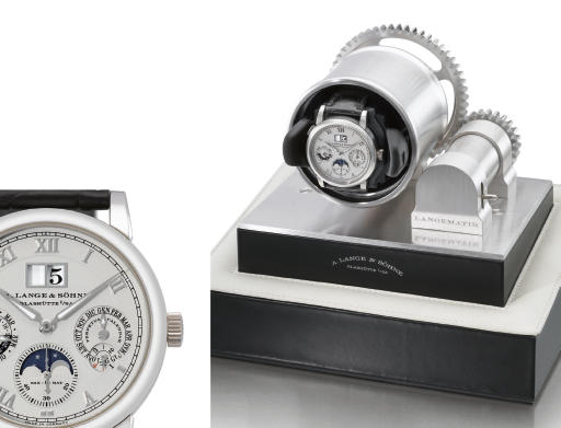 A. Lange & Söhne. A fine and rare platinum self-winding perpetual calendar wristwatch with phases of the moon, oversized date and zero-reset function