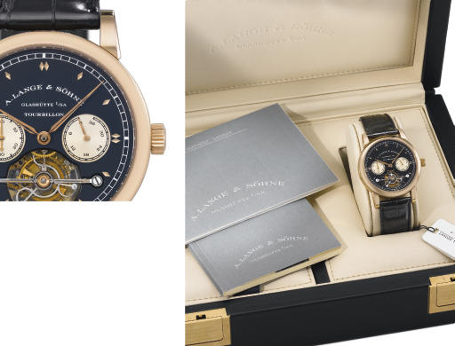 A. Lange & Söhne. A very fine and rare 18K pink gold limited edition one minute tourbillon wristwatch with chain fusée, up and down indicator and black dial