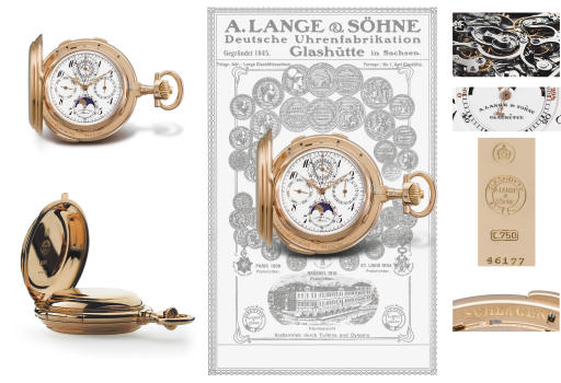A. Lange & Söhne. An exceptionally rare and important 18K pink gold hunter case two-train minute repeating grande and petite sonnerie perpetual calendar split seconds chronograph keyless lever clock watch with register, age and phases of the moon and Bulletin de Marche