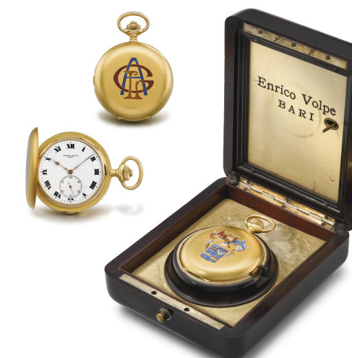 Zenith. A fine 18K gold hunter case two train carillon minute repeating grande sonnerie keyless lever clock watch with box