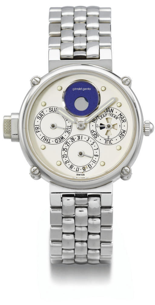 Gerald Genta. A very fine and rare platinum self-winding water-resistant minute repeating perpetual calendar wristwatch with phases of the moon and bracelet