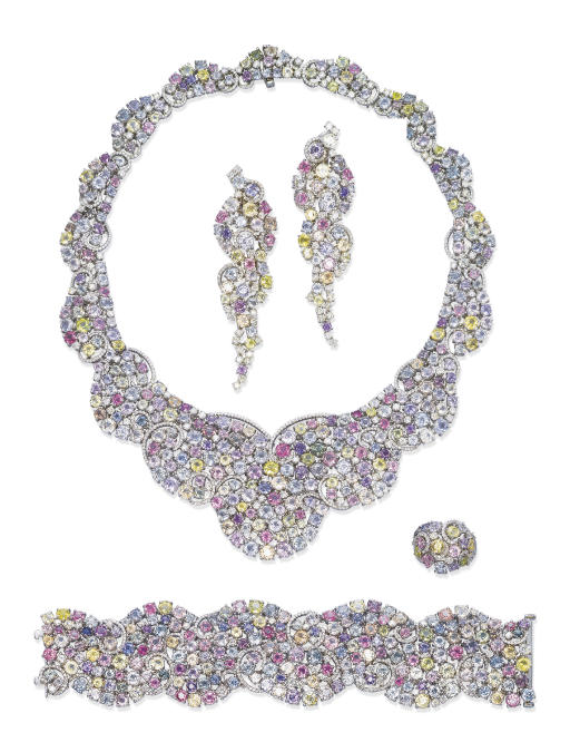 A SUITE OF MULTI-COLOURED SAPPHIRE AND DIAMOND JEWELLERY, BY MICHAEL YOUSSOUFIAN