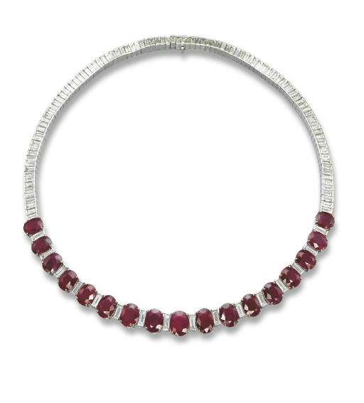 A RUBY AND DIAMOND NECKLACE, BY FÜRST