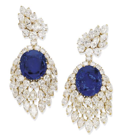 A PAIR OF IMPRESSIVE SAPPHIRE AND DIAMOND EAR PENDANTS, BY M. GÉRARD