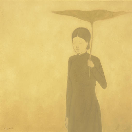 Woman with lotus leaf