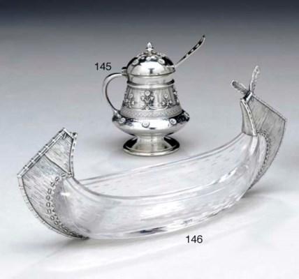 A SILVER-MOUNTED GLASS CANOE-F