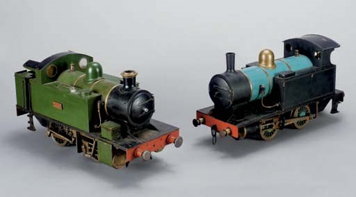 TWO PAINTED TIN AND METAL TRAI