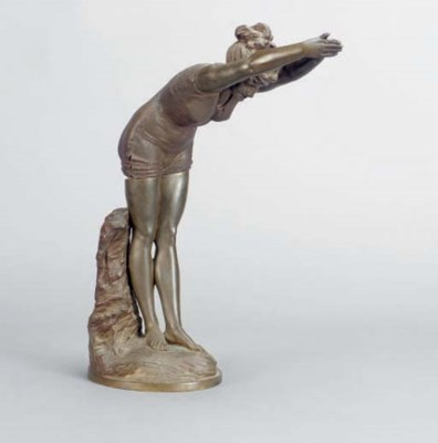 A BRONZE FIGURE OF A DIVING GI
