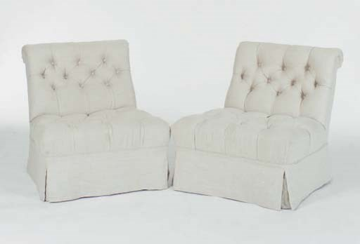 A PAIR OF LINEN UPHOLSTERED TU