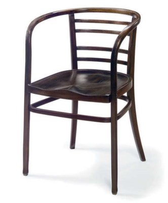 A STAINED WOOD ARMCHAIR,