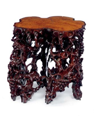 A CHINESE HARDWOOD AND BURR-VE
