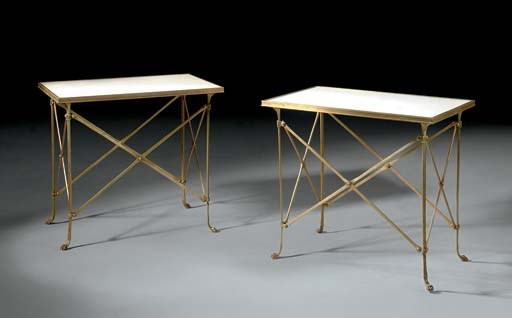 A PAIR OF BRASS AND WHITE MARB