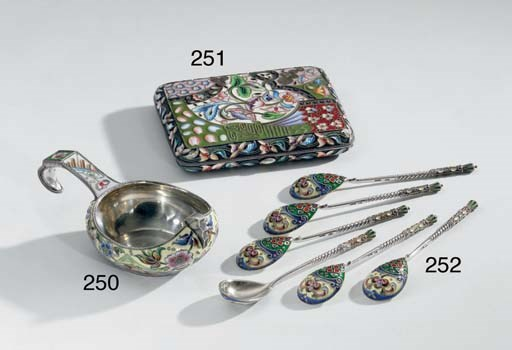 A Set of Six Silver and Enamel