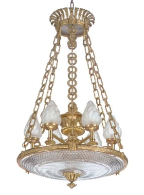 A REGENCY ORMOLU AND CUT-GLASS