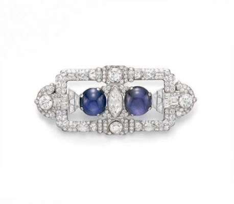 AN ART DECO STAR SAPPHIRE AND