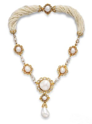 A BAROQUE PEARL, DIAMOND AND G