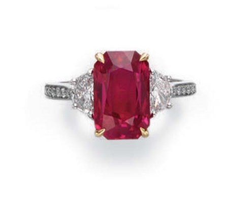 A RUBY AND DIAMOND RING, BY NA