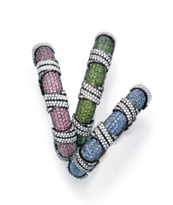 A SET OF MULTI-GEM BANGLES, BY
